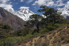 Himalaya. NAMCHE BAZAR, NEPAL - CIRCA OCTOBER 2013: view of the Himalayas (Everest, Lhotse, Ama Dablam) from near Namche Bazaar circa October 2013 in Namche Stock Image