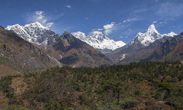 Himalaya. NAMCHE BAZAR, NEPAL - CIRCA OCTOBER 2013: view of the Himalayas (Everest, Lhotse, Ama Dablam) from near Namche Bazaar circa October 2013 in Namche Stock Photo