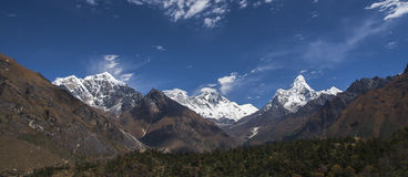Himalaya. NAMCHE BAZAR, NEPAL - CIRCA OCTOBER 2013: view of the Himalayas (Everest, Lhotse, Ama Dablam) from near Namche Bazaar circa October 2013 in Namche Royalty Free Stock Image