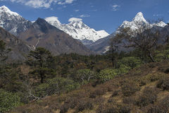 Himalaya. NAMCHE BAZAR, NEPAL - CIRCA OCTOBER 2013: view of the Himalayas (Everest, Lhotse, Ama Dablam) from near Namche Bazaar circa October 2013 in Namche Royalty Free Stock Photo
