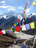 Himalaya pray flags. Colorful pray flags with Himalaya in the background Royalty Free Stock Image