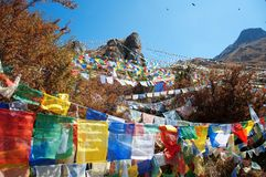 Himalaya prayer flags. Himalaya Mountains with Buddhist prayer flags stock images