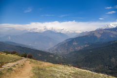 Himalaya range landscape in Nepal. Dhaulagiri mountain view with blue sky, beautiful Himalaya range landscape in Nepal stock images