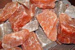 Himalaya salt. Pink salt crystals in rocks from Himalaya royalty free stock images