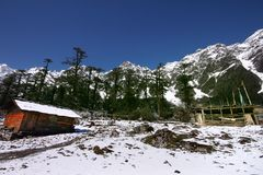 Himalaya scenic beauty, viewed in ultra wide angle Royalty Free Stock Photo