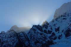 Himalaya sunrise. Thamserku peak in Nepal Stock Images