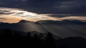 Himalaya Sunset. Beautiful light on the Himalayan foothills, taken from Poon Hill Stock Image
