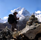 Himalaya trekker. Trekker high in the Himalayas, seen here with Ama Dablam, the Matterhorn of the Himalaya in the background Stock Photos