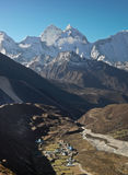 Himalaya village under mountains Stock Photography