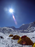 Himalayan Base Camp. Base camp of Island Peak, high in the Himalayas Stock Image