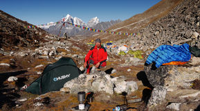 Himalayan base camp. Ing in the Khumbu valley below the mountain Island peak Stock Photos