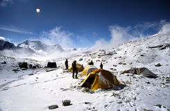 Himalayan camp. Group of climbers preparing for dinner at their camp high in the Everest region of the Nepali Himalaya Royalty Free Stock Photography