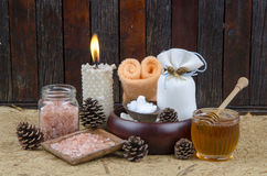 Himalayan crystals rock salt spa scrubs. Stock Photos