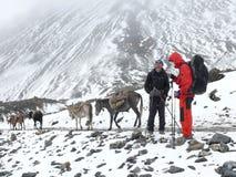 Himalayan expedition - passing Thorong La pass - Nepal Stock Photos