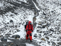 Himalayan expedition - Snowy weather in Thorong La Pass, Nepal. Annapurna circuit, Way to Thorong La Pass, Nepal Stock Images