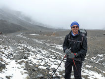 Himalayan expedition - Snowy weather on way to Thorong La Pass, Nepal. Annapurna circuit, Way to Thorong La Pass, Nepal Stock Photo