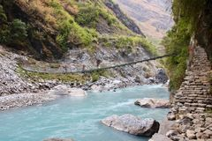 Himalayan Highway. One of the many bridge crossings in the Himalayas of Nepal Stock Photography