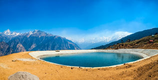 Himalayan lake. Himalayan landscape with an artificial lake in the early morning, India Royalty Free Stock Photography