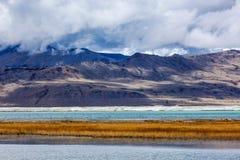 Himalayan lake Tso Kar in Himalayas, Ladakh, India Royalty Free Stock Image