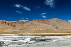 Himalayan lake Tso Kar in Himalayas, Ladakh, India Royalty Free Stock Images