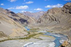 Himalayan landscape in Himalayas mountains along Manali - Leh highway. Himachal Pradesh, India. Himalayan landscape in Himalayas mountains along Manali - Leh Royalty Free Stock Image