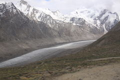 Himalayan landscape. Somewhere in Himalaya. Road among the glacier stock photography