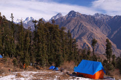 Himalayan landscape and a tent Royalty Free Stock Photo