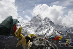 Himalayan Mountain Range. The North face of Ama Dablam (6812 m) in the Himalayan Mountain Range as seen from the peak of Pokalde Ri (5330 m) on the trek from Stock Image
