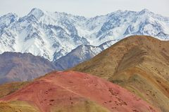 Multi-colored mountains in Himalayas Royalty Free Stock Image