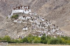 Himalayan mountains and Chemrey gompa, Buddhist monastery in Ladakh, India Royalty Free Stock Photos