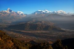Himalayan mountains from Sarangkot Royalty Free Stock Images
