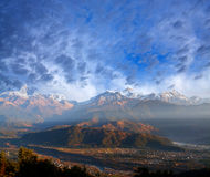Himalayan mountains from Sarangkot, Pokhara, Nepal Stock Photography