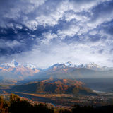 Himalayan mountains from Sarangkot, Pokhara, Nepal Stock Photos