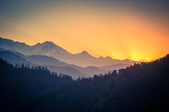Himalayan mountains at sunrise. View from Poon Hill, Annapurnas circuit trekking, Himalaya, Nepal Stock Images