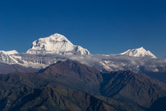 Himalayan mountains at sunrise. View from Poon Hill, Annapurnas circuit trekking, Himalaya, Nepal Royalty Free Stock Images