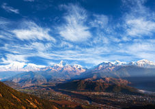 Himalayan mountains view from Sarangkot, Pokhara. View of the Himalayan mountains from Sarangkot, Pokhara royalty free stock image