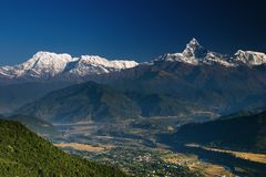 Himalayan panorama. Himalayan countryside and Annapurna mountains, Nepal Stock Image