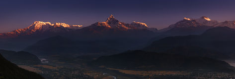 Himalayan panorama at sunrise Stock Photo