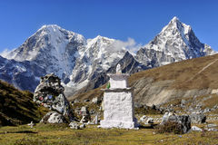 Himalayan peaks. And Buddhist prayer flags. Nepal Royalty Free Stock Images