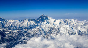 The Himalayan peaks. The Himalayas main peak elevation of 8844.43 meters, is the world first peak Royalty Free Stock Photos