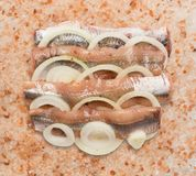 Himalayan Pink Salt Background. Anchovy with Onion Rings on Himalayan Pink Salt Background Closeup Top View Royalty Free Stock Images
