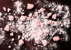 Himalayan Pink Salt Background. Closeup. Himalayan Pink Salt Background. Closeup, copy space stock photos