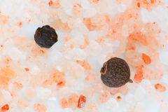 Himalayan pink salt crystals with spicy peppers close up Royalty Free Stock Photos