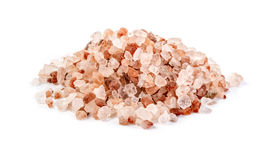 Himalayan pink salt. Isolated on white background Stock Image
