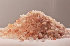 Himalayan pink salt, kitchen ingredient and holistic element. Still life macro photo Royalty Free Stock Photo