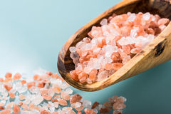Himalayan pink salt on a olive wood spoon Stock Images