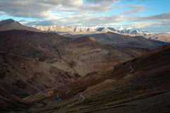 Himalayan road. From Taglag la pass, 17582ft, the second higher pass in the world, Leh-Manali road, Ladakh, India Royalty Free Stock Photography