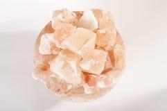 Himalayan salt lamp crystals top view Royalty Free Stock Photos