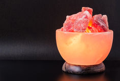 Himalayan Salt Lamp Turned On Royalty Free Stock Image