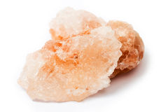 Himalayan salt over white Royalty Free Stock Images